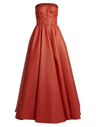 Sophie Theallet Rust Bandeau Woven Raffia Gown Red