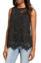 Everleigh Lace Front Sleeveless Top Black