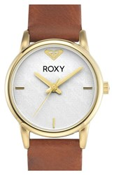 Women's Roxy 'The Huntington' Round Leather Strap Watch 28Mm