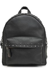 Coach Woman Embellished Textured Leather Backpack Black