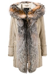 Philipp Plein Amazing Fur Coat Nude And Neutrals