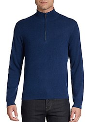 Saks Fifth Avenue Black Cashmere Half Zip Sweater Navy