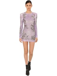 Balmain Embellished Mini Dress Lilac