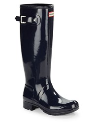 Hunter Original Tour Gloss Rubber Rain Boots Navy Blue