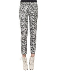 Akris Frances Printed Ankle Pants Black White