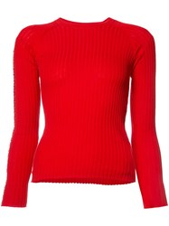 Alexander Wang Ring Trim Ribbed Sweater Red