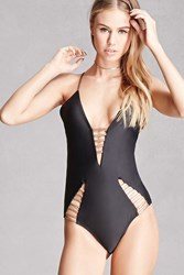 Forever 21 South Beach Cutout One Piece Black Rose Gold