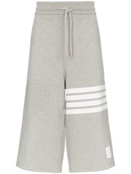 Thom Browne 4 Bar Oversized Cropped Cotton Sweatpants Grey
