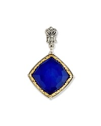 Konstantino Faceted Square Crystal Quartz Over Lapis Pendant Blue