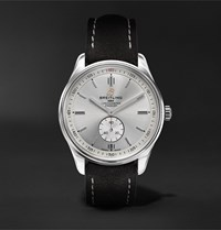 Breitling Premier Automatic 40Mm Stainless Steel And Nubuck Watch Ref. No. A37340351g1x1 Silver