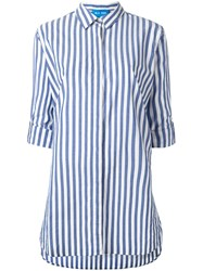 Mih Jeans Oversized Striped Shirt Blue