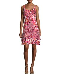 Michael Kors Ruffled Floral Print Silk Slip Dress Pink