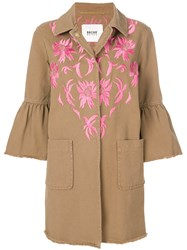 Bazar Deluxe Embroidered Trumpet Sleeve Denim Coat Brown
