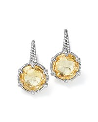 Judith Ripka Sterling Silver Eclipse Earrings With Canary Crystal Yellow Silver