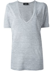 Dsquared2 Deep V Neck T Shirt Grey