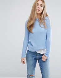 Warehouse Boucle Crew Jumper Blue