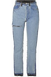 Vetements Reworked Distressed High Rise Slim Leg Jeans Indigo
