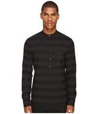 Matiere Brennon Striped Woven Pullover Tunic Jet Black