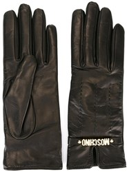 Moschino Short Logo Gloves Black