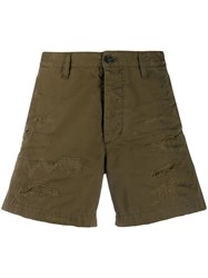 Dsquared2 Distressed Wide Leg Shorts Green