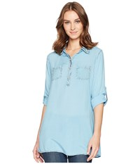 Scully Bina Sexy Fabric Button Front Blouse Blue Clothing