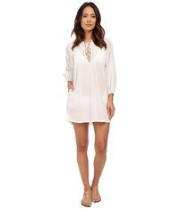 Lauren Ralph Lauren Crushed Cotton Laced Front Darcy Cover Up White Women's Swimwear