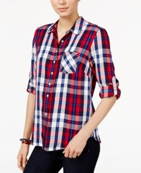 Tommy Hilfiger Plaid Roll Tab Shirt Only At Macy's Red Combo