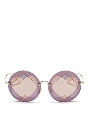 Miu Miu Cutout Heart Window Round Sunglasses Multi Colour