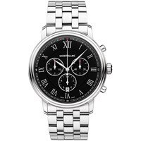 Montblanc 117048 Men's Tradition Chronograph Date Bracelet Strap Watch Silver Black