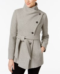 Inc International Concepts Asymmetrical Belted Walker Coat Created For Macy's Charcoal