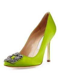 Manolo Blahnik Hangisi Crystal Buckle Satin 105Mm Pump Green