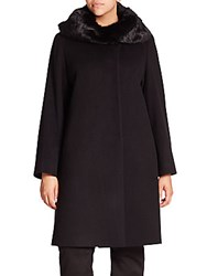 Cinzia Rocca Rabbit Fur Trimmed Wool Walking Coat Black