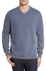 Thaddeus Men's Anthony Slubbed Long Sleeve V Neck T Shirt Graphite
