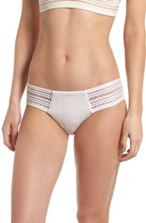 Robin Piccone Perla Crochet Bikini Bottoms Eggs Shell