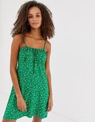 New Look Tie Gather Front Dress In Green Cream