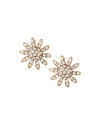 Lydell Nyc Crystal Pave Floral Stud Earrings Clear