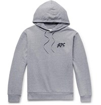 A.P.C. Michel Logo Print Loopback Cotton Blend Jersey Hoodie Gray
