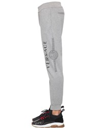 Versace Printed Logo Cotton Jersey Sweatpants Heather Grey