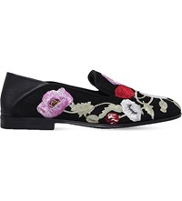 Alexander Mcqueen Floral Embroidered Suede Loafers Blk Other