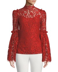 Camilla And Marc Clemence Scalloped Lace Top Medium Red
