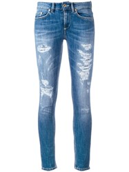 Dondup Distressed Cropped Skinny Jeans Blue