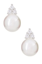 Shell Pearl And Simulated Diamonds Accent Stud Earrings White