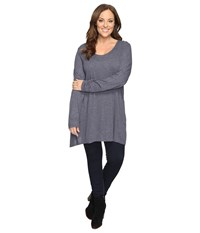 Allen Allen Plus Size Long Sleeve Scoop Angled Tee Flint Women's T Shirt Beige