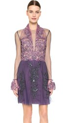 Reem Acra Re Embroidered Lace Illusion Dress Violet Blue