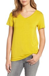 Halogenr Petite Women's Halogen Modal Jersey V Neck Tee Yellow Guilded