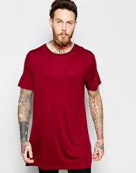 Weekday Long Ten Longline T Shirt Wide Neck In Red Red 49 209