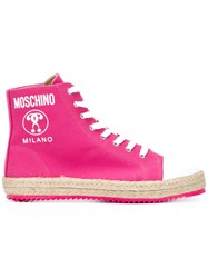 Moschino Lace Up Hi Top Sneakers Pink Purple