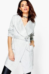 Boohoo Grace Suedette Over Sized Collar Duster Grey