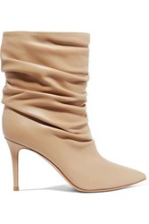 Gianvito Rossi Cecile 85 Leather Ankle Boots Sand