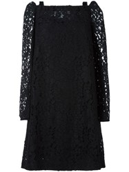 See By Chloe Cut Out Shoulder Lace Dress Black